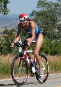 Triathlete cycling cropped