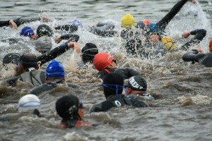 Triathletes swimming group